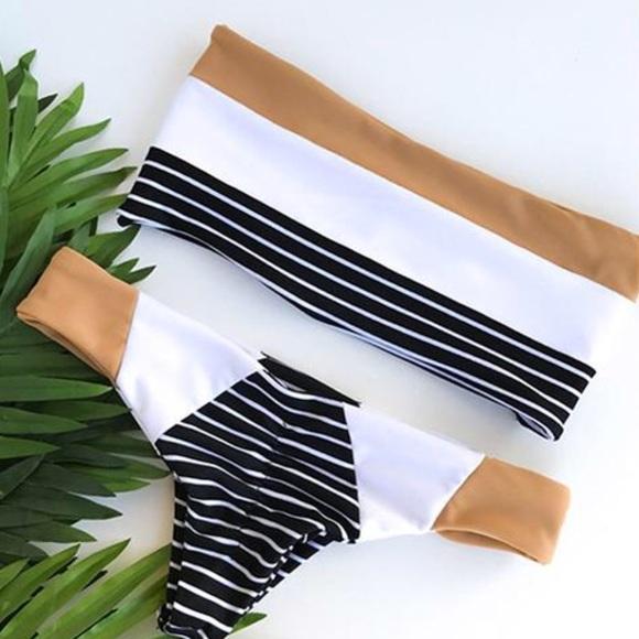 d2124772cb Stanlice NWT Lana Striped Bandeau Bikini Swim Suit